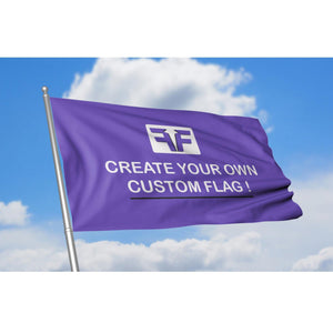 Create your own custom flag against blue sky background