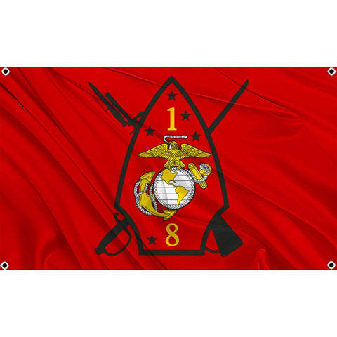 1st Battalion 8th Marines logo on red flag