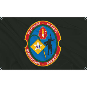 2nd Battalion 6th Marines logo on black flag