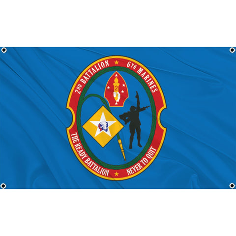 2nd Battalion  6th Marines logo on blue flag