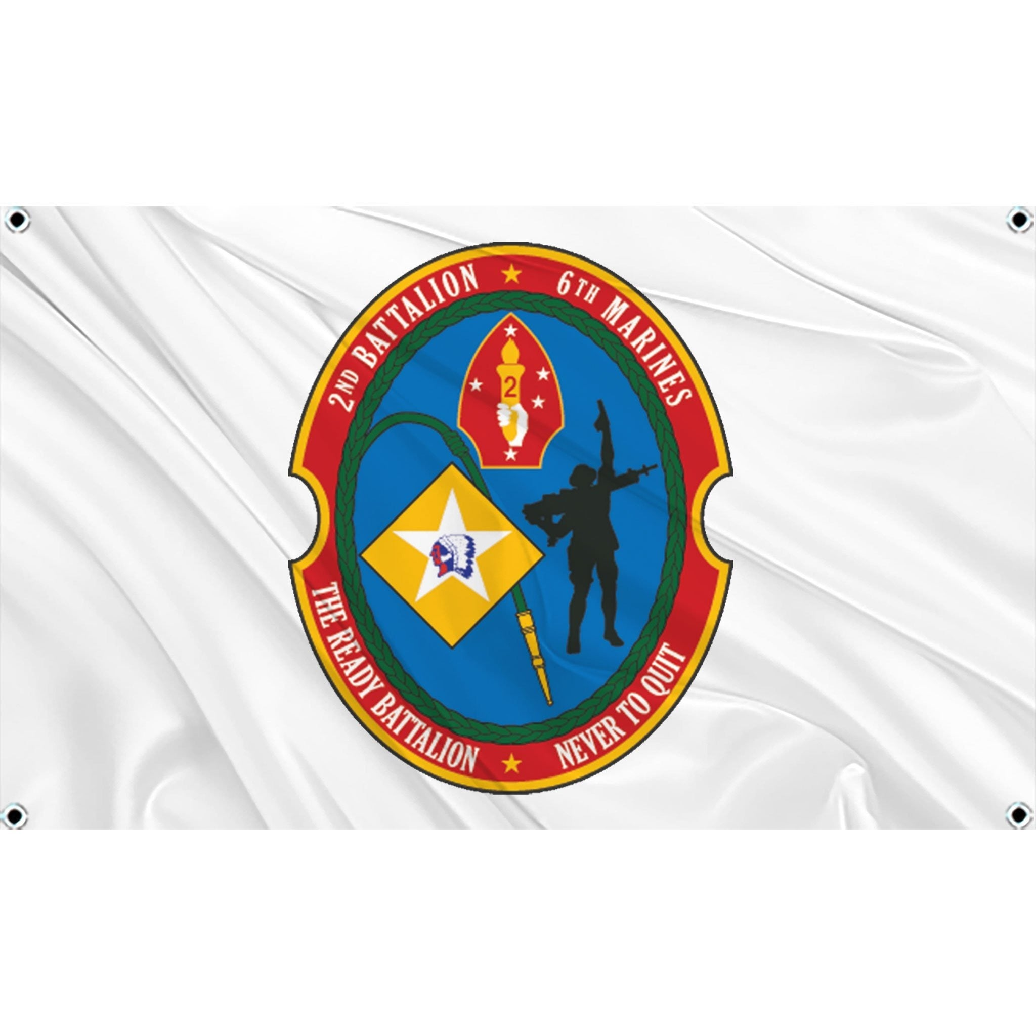 2nd Battalion  6th Marines logo on white flag
