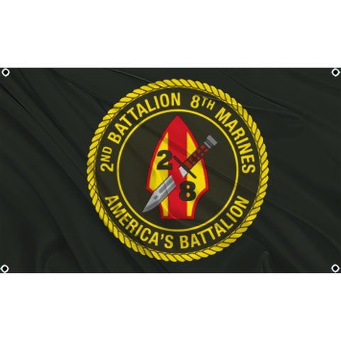2nd Battalion 8th Marines logo on black flag