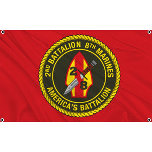 2nd Battalion 8th Marines logo on red flag
