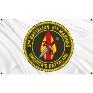 2nd Battalion 8th Marines logo on white flag