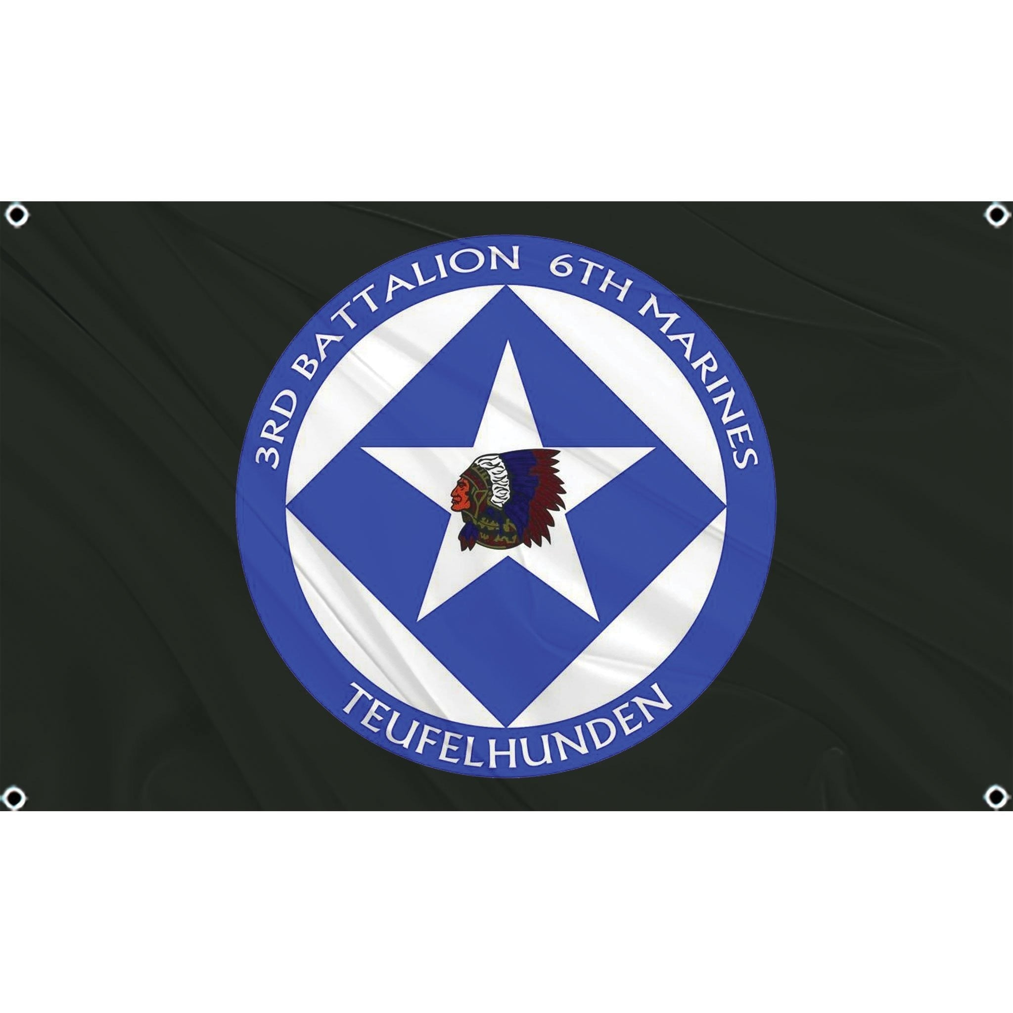 3rd Battalion 6th Marines logo on black flag