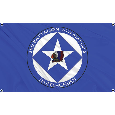 3rd Battalion 6th Marines logo on blue flag