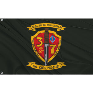 3rd Battalion 7th Marines logo on black flag