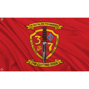 3rd Battalion 7th Marines logo on red flag