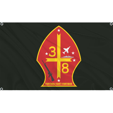 3rd Battalion 8th Marines logo on black flag