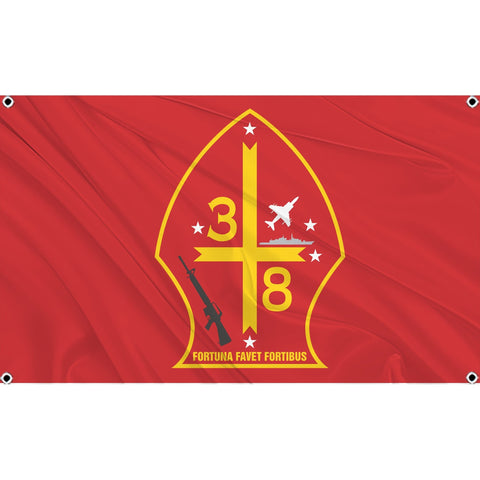3rd Battalion 8th Marines logo on red flag