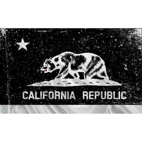 California State Flag (Black | White | Tattered)
