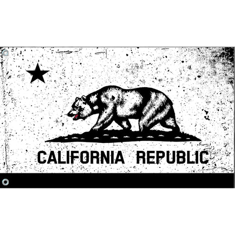 California State Flag (White | Black | Tattered)