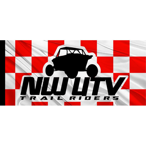 Custom logo red and white checkered whip safety flag  for atvs, utvs, quads, RZRs, and off-road vehicles