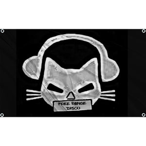 "White and grey cat with headphones on holding a sign that reads ""Free Range Disco"" on black flag"