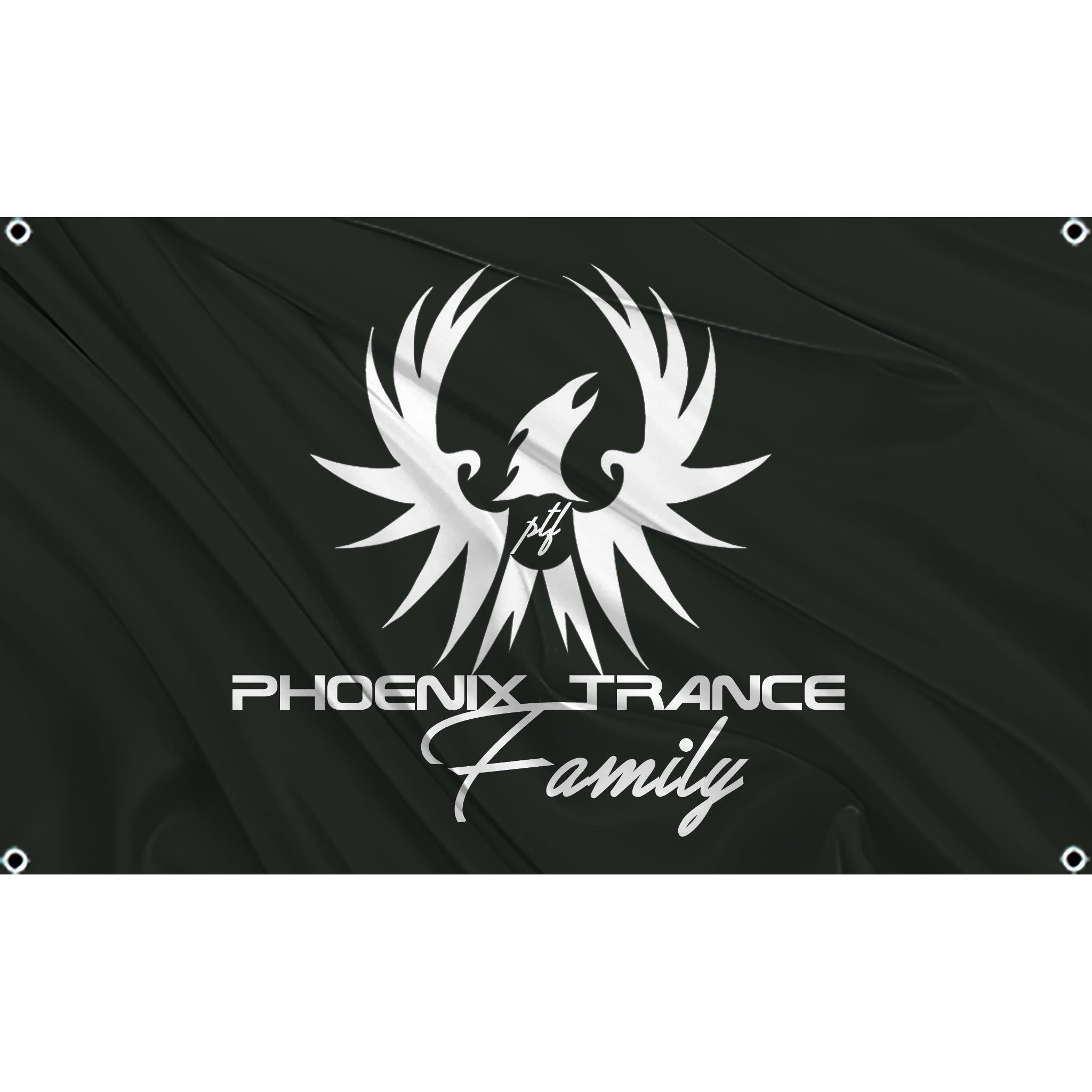 White Phoenix Trance family logo on black flag