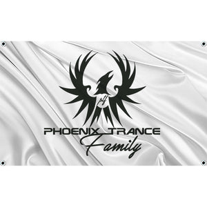Black Phoenix Trance Family logo on white flag