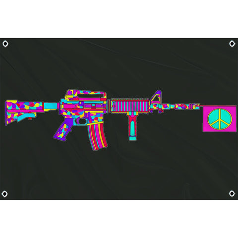 trippy AR15 with peace sign coming out of barrel