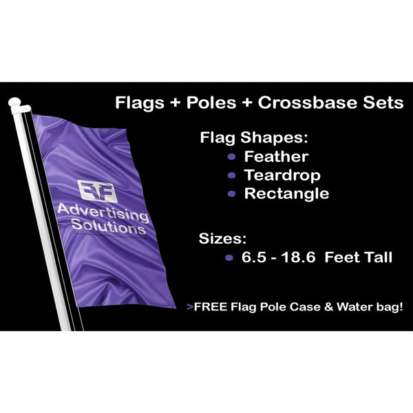 Custom Teardrop | Feather | Blade | Shark-fin Flags with Base & Pole Sets