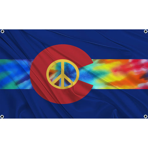 Colorado state flag with yellow peace symbol and tie-dye rainbow middle stripe