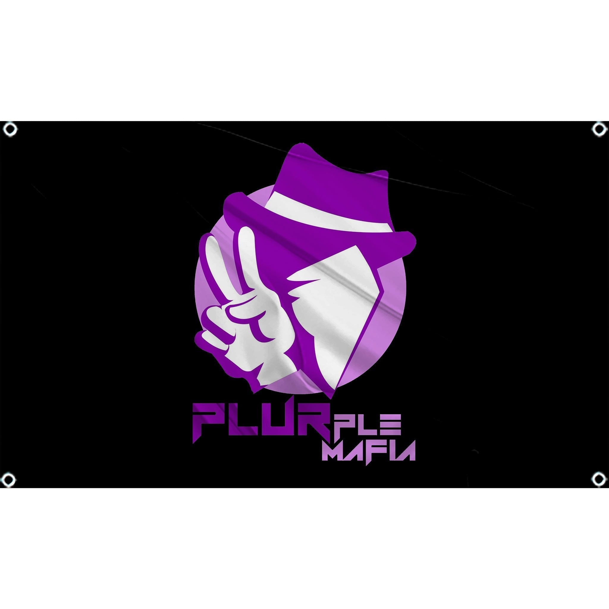Person in purple top hat putting up peace sign with hands  with plurple mafia logo on black flag