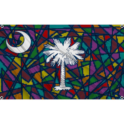Stained glass window with white palm tree and white crescent moon