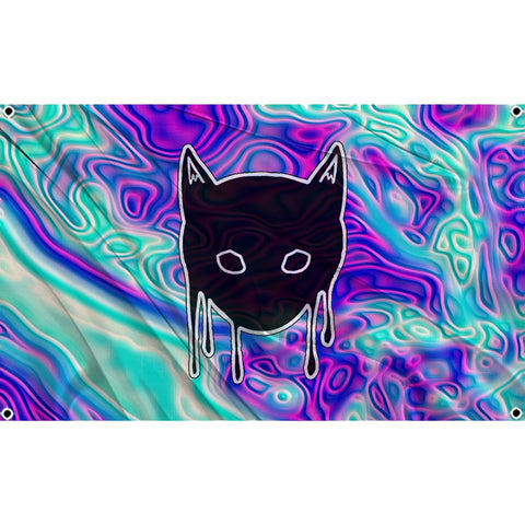 Melting kitty face on psychedelic background