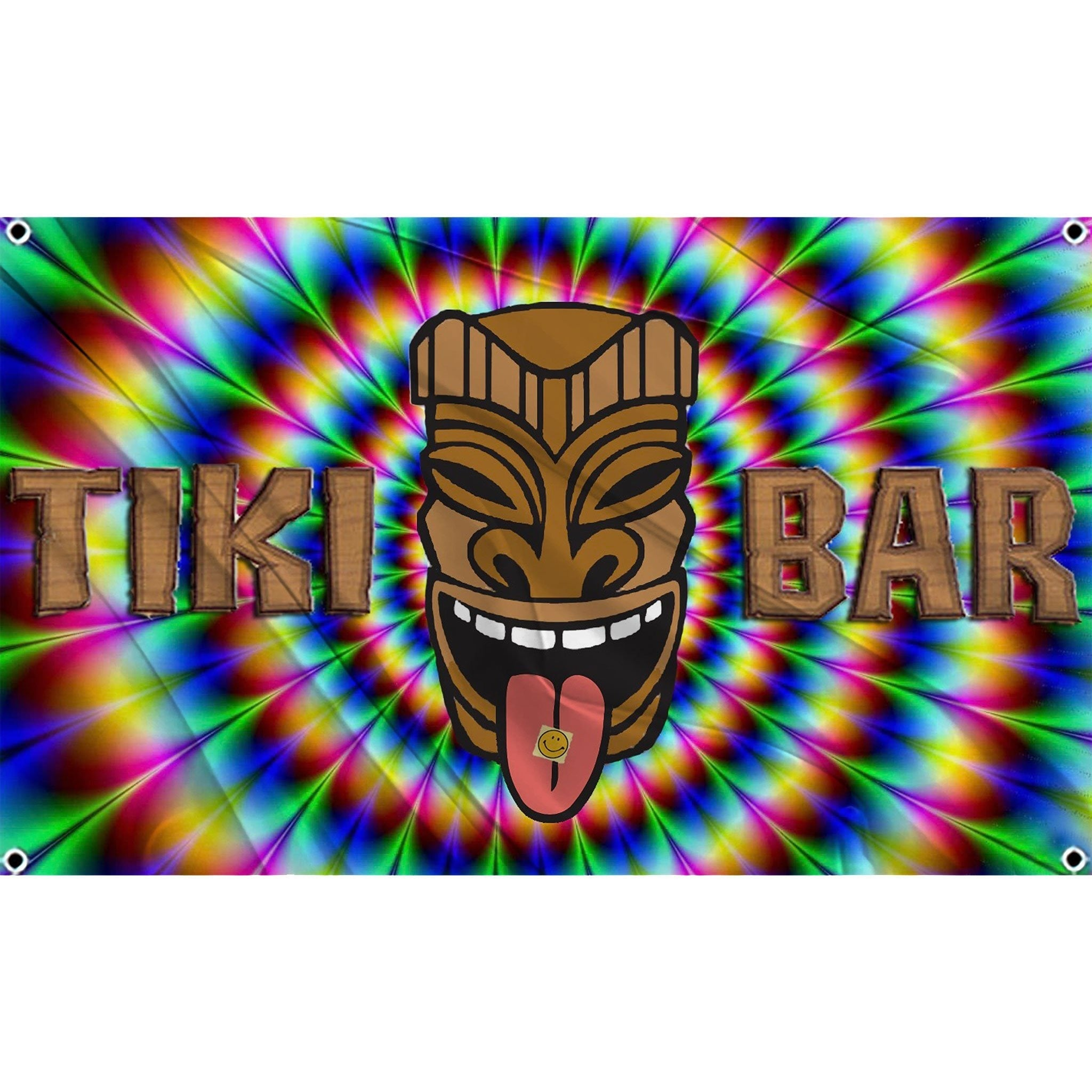 Tiki Bar text in wood patter with rainbow colored psychedelic portal in background