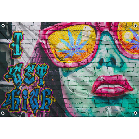 I get high in text on left side of flag. Right side of flag close up of female face with pot leaf sunglasses on