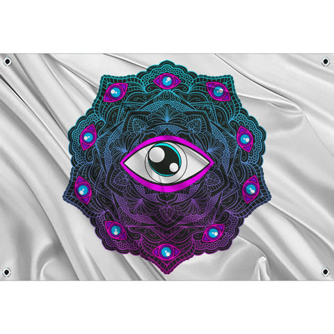 Mandala Eyes on white flag