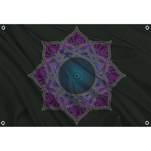 Purple sacred geometry on black flag