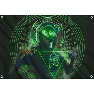 Glowing green and black Rezz flag