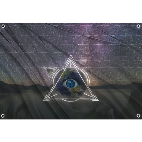 Trippy eyeball in triangle on space background
