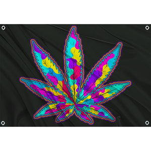 Trippy multicolored marijuana leaf on black background