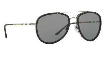 RARE POLARIZED NEW Genuine BURBERRY Ruthenium Grey Sunglasses BE 3090Q 1003/T8
