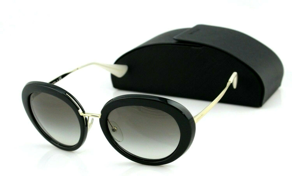 RARE NEW Genuine PRADA Round Metal Black Grey Sunglasses SPR 16Q PR 16QS 1AB0A7