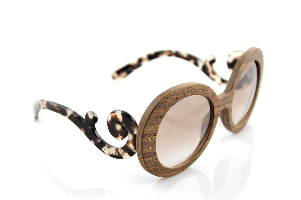 NEW Wooden SPECIAL PROJECT PRADA Baroque Black Walnut Sunglasses SPR 27R IAM 4O0