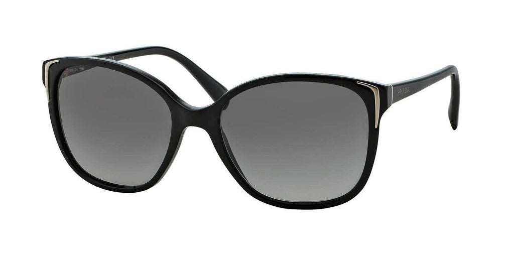 Classy NEW Authentic PRADA Ladies Black Gold Sunglasses SPR 01O PR 01OS 1AB 3M1