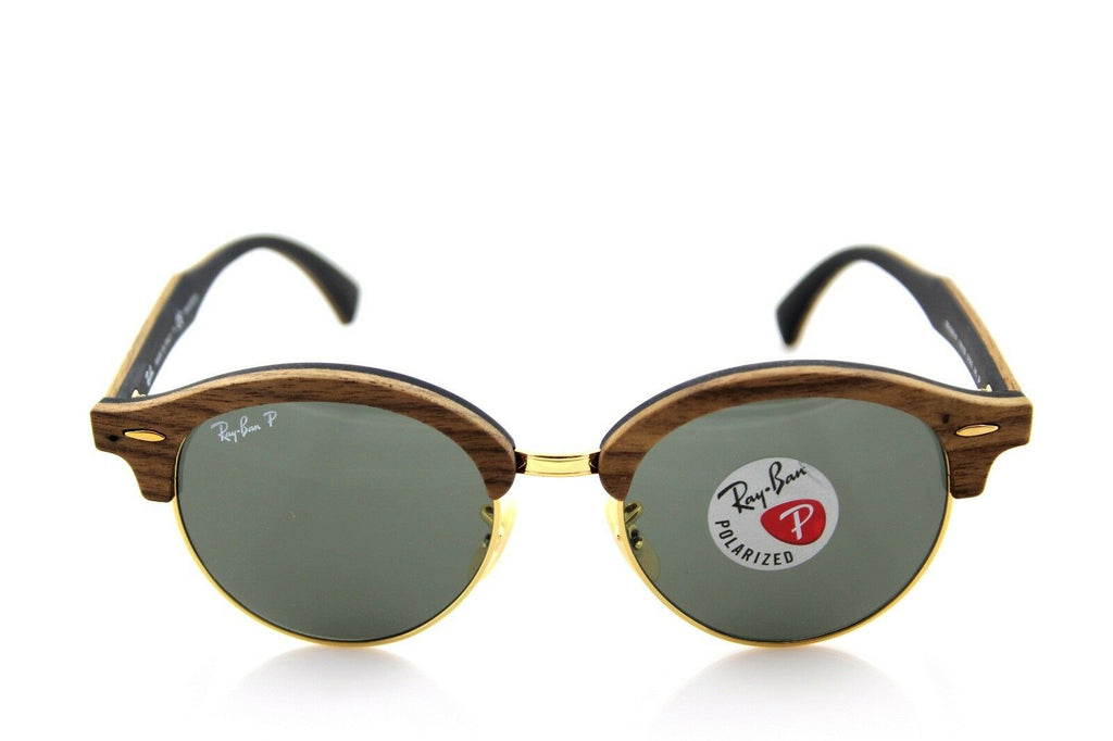 Ray-Ban Clubround Wood Polarized Unisex Sunglasses RB 4246M 118158 2
