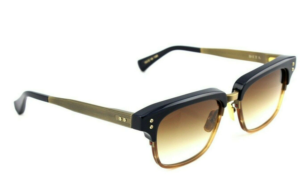 NEW DITA STATESMAN FIVE Navy Amber Maple Antique Gold Sunglasses DRX 2089 C T