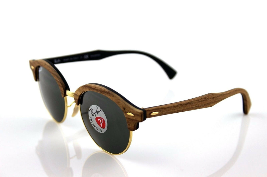 Ray-Ban Clubround Wood Polarized Unisex Sunglasses RB 4246M 118158 4