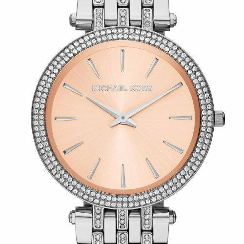NEW Authentic Michael Kors Darci Rose Dial Silver Tone Glitz Ladies Watch MK3218