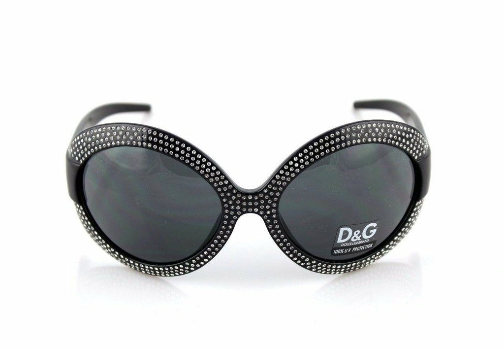 RARE NEW Authentic D&G Dolce & Gabbana Black Crystal Sunglasses DG 8038 B 501/87