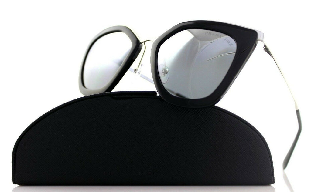 POLARIZED PRADA CINEMA EVOLUTION Black Silver Mirror Sunglasses SPR 53S 1AB-6R2