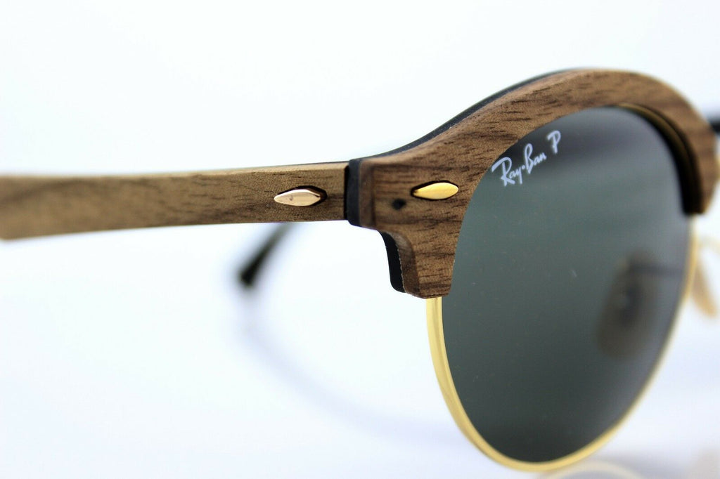 Ray-Ban Clubround Wood Polarized Unisex Sunglasses RB 4246M 118158 6