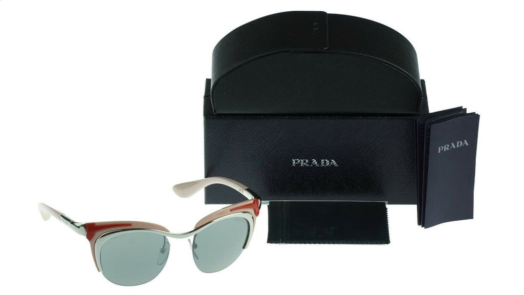 RARE NEW Genuine PRADA Dixie RUNWAY Rose Red Silver Sunglasses SPR 61O 1BC7W1 PR