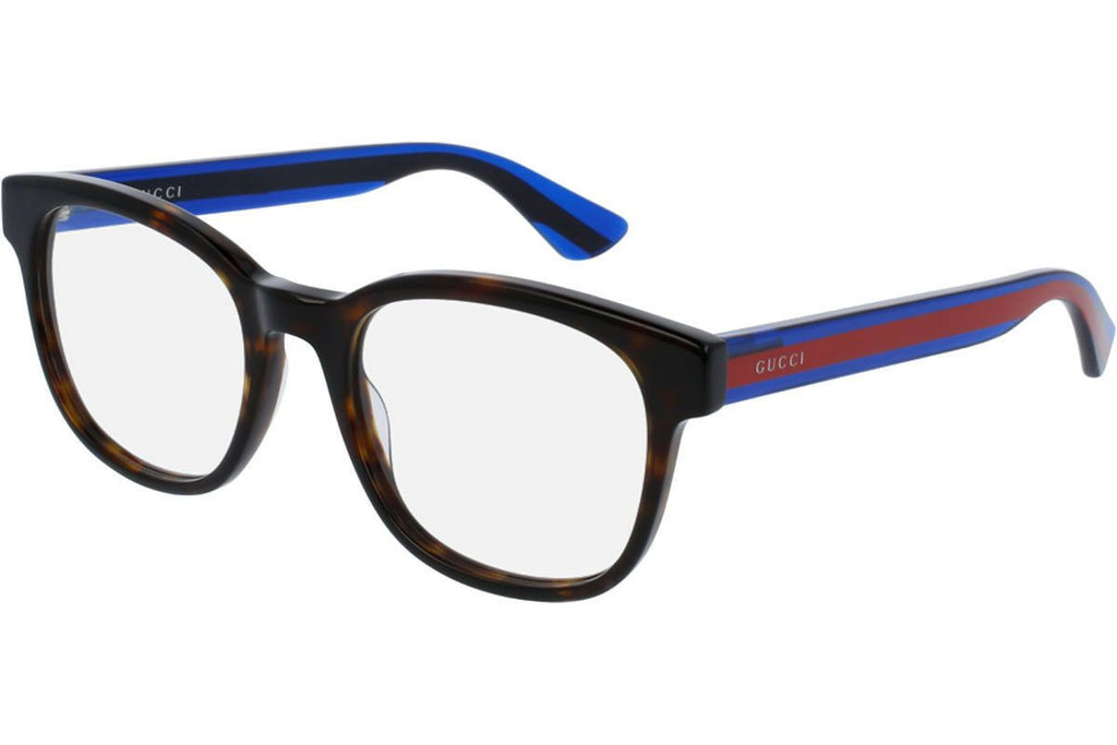 NEW GUCCI Mens Havana Blue Transparent Stripe Eye Glasses Frame GG 0005O 007 5O