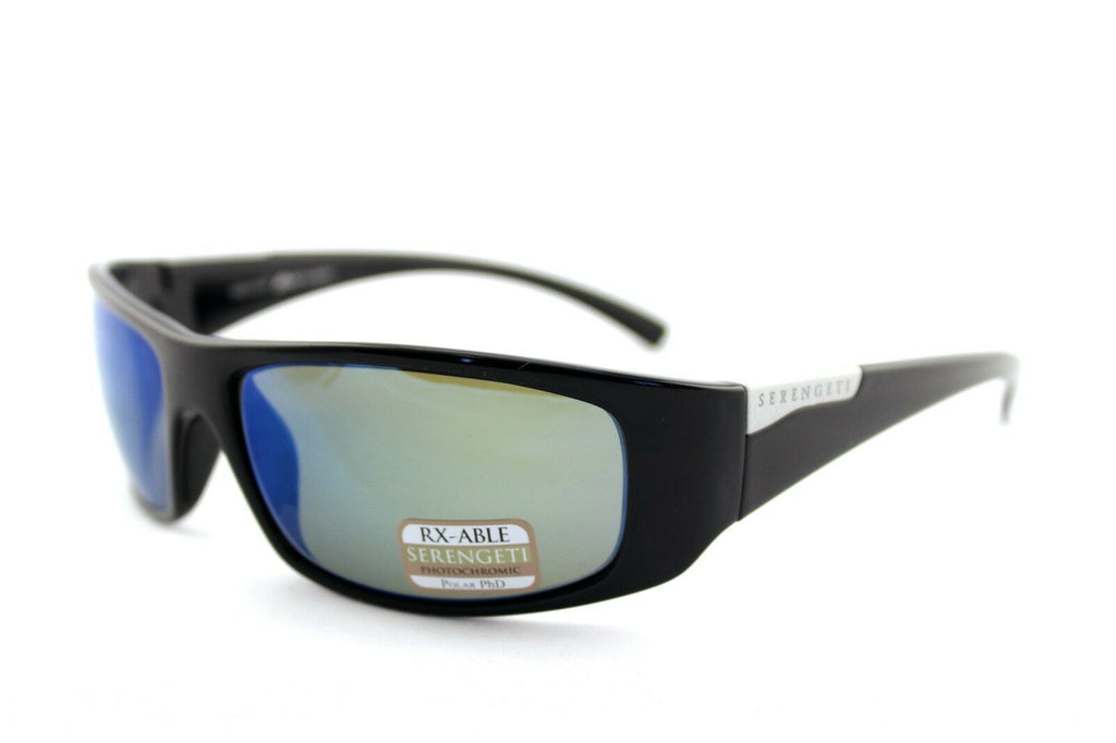 POLARIZED New SERENGETI FASANO Black PhD 555 Blue Mirror Sports Sunglasses 8219