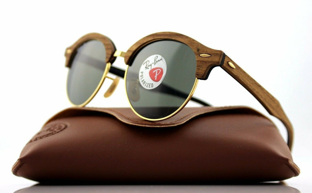 Ray-Ban Clubround Wood Polarized Unisex Sunglasses RB 4246M 118158 9