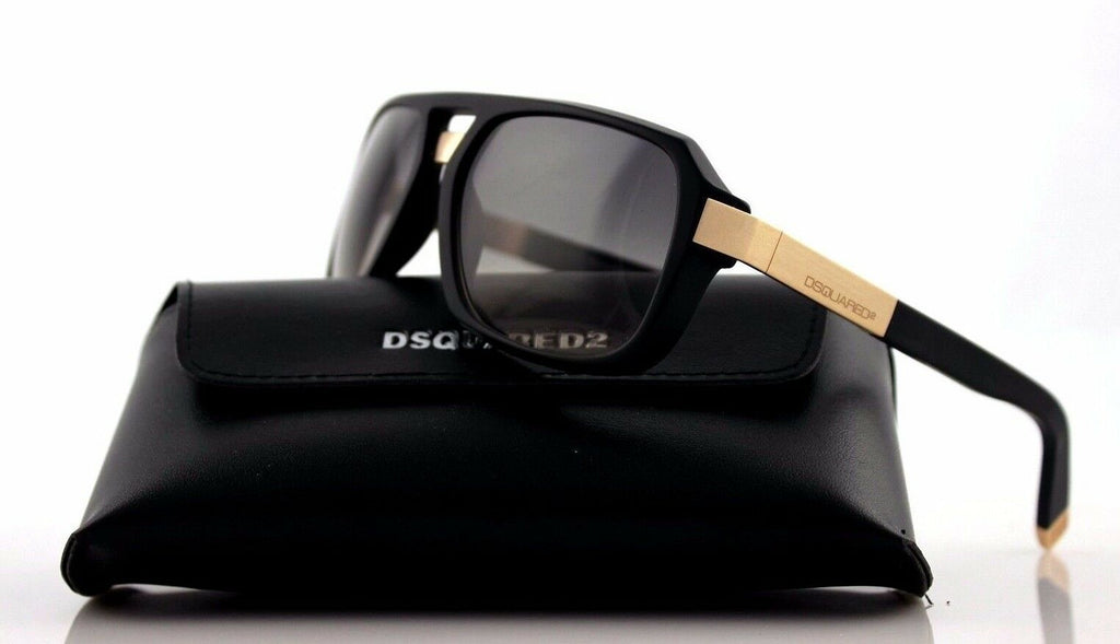 NEW Genuine DSQUARED2 Matte Black Light Gold Smoke Grey Sunglasses DQ 0028/S 02B