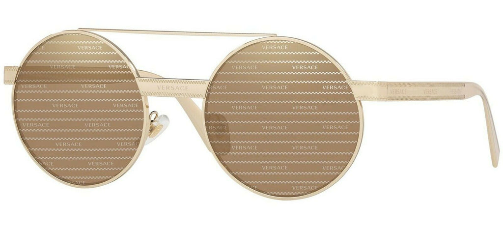 NEW Genuine VERSACE EVERYWHERE Pale Gold Brown Mirror Sunglasses VE 2210 1252V3